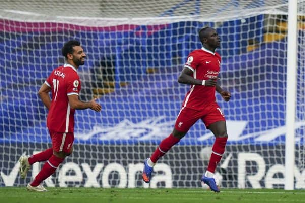 LONDON, ENGLAND - Sunday, September 20, 2020: Liverpool's Sadio Mané celebrates scoring the second goal, to make the score 2-0, during the FA Premier League match between Chelsea FC and Liverpool FC at Stamford Bridge. The game was played behind closed doors due to the UK government's social distancing laws during the Coronavirus COVID-19 Pandemic. (Pic by Propaganda)