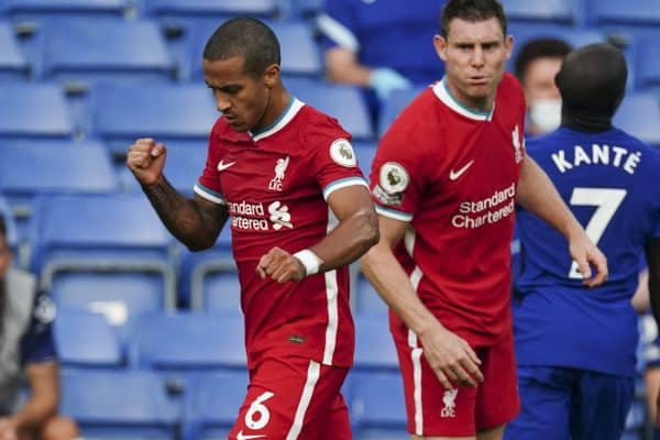 LONDON, ENGLAND - Sunday, September 20, 2020: Liverpool's Thiago Alcantara celebrates at the final whistle during the FA Premier League match between Chelsea FC and Liverpool FC at Stamford Bridge. The game was played behind closed doors due to the UK government's social distancing laws during the Coronavirus COVID-19 Pandemic. (Pic by Propaganda)
