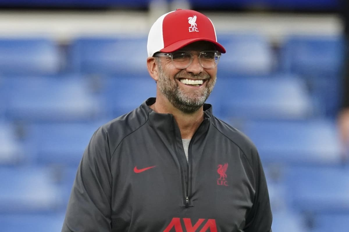 LONDON, ENGLAND - Sunday, September 20, 2020: Liverpool's manager Jürgen Klopp smiles after the FA Premier League match between Chelsea FC and Liverpool FC at Stamford Bridge. The game was played behind closed doors due to the UK government's social distancing laws during the Coronavirus COVID-19 Pandemic. (Pic by Propaganda)