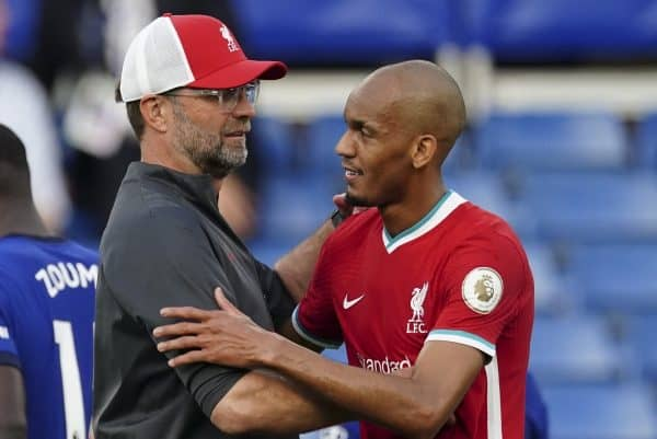 LONDON, ENGLAND - Sunday, September 20, 2020: Liverpool's manager Jürgen Klopp embraces Fabio Henrique Tavares 'Fabinho' after the FA Premier League match between Chelsea FC and Liverpool FC at Stamford Bridge. The game was played behind closed doors due to the UK government's social distancing laws during the Coronavirus COVID-19 Pandemic. (Pic by Propaganda)
