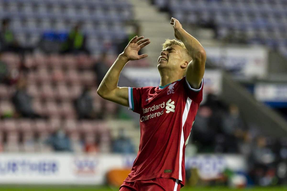 WIGAN, ENGLAND - Tuesday, September 22, 2020: Liverpool's Jack Bearne looks dejected after missing a chance during the EFL Trophy Northern Group D match between Wigan Athletic and Liverpool FC Under-21's at the DW Stadium. (Pic by David Rawcliffe/Propaganda)