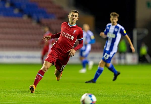 WIGAN, ENGLAND - Tuesday, September 22, 2020: Liverpool's Ben Woodburn during the EFL Trophy Northern Group D match between Wigan Athletic and Liverpool FC Under-21's at the DW Stadium. (Pic by David Rawcliffe/Propaganda)