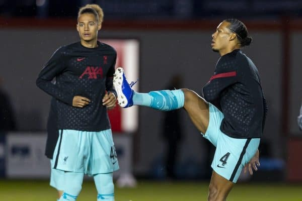 LINCOLN, ENGLAND - Thursday, September 24, 2020: Liverpool's Virgil van Dijk (R) and Rhys Williams during the pre-match warm-up before the Football League Cup 3rd Round match between Lincoln City FC and Liverpool FC at Sincil Bank. (Pic by David Rawcliffe/Propaganda)