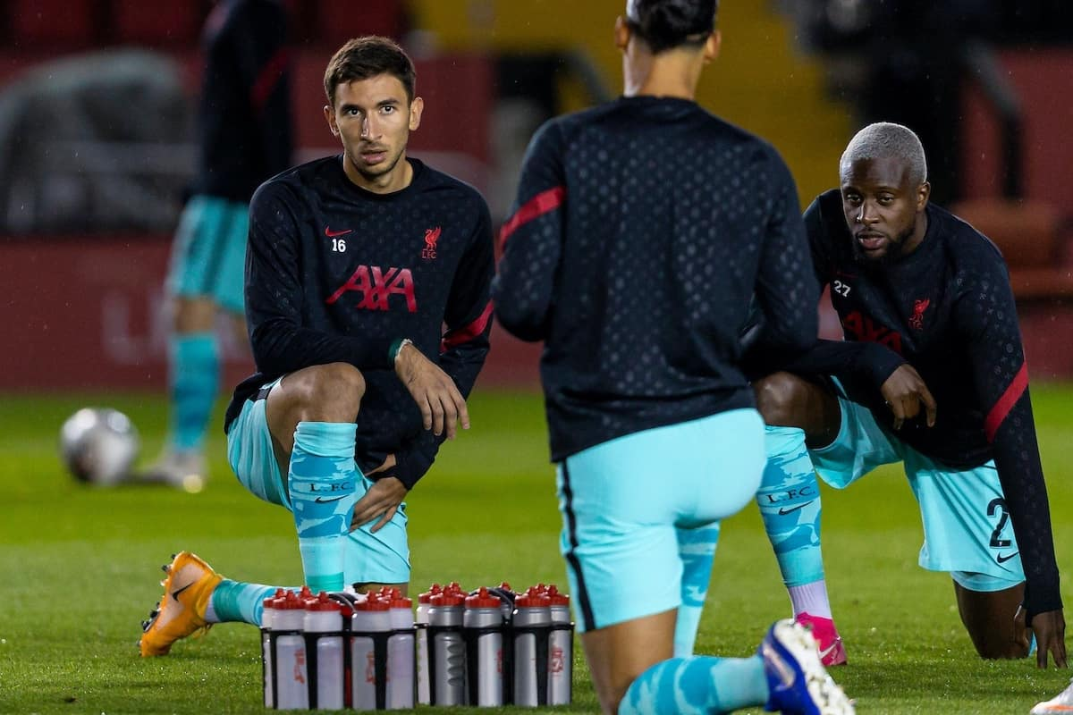 LINCOLN, ENGLAND - Thursday, September 24, 2020: Liverpool's Marko Grujic during the pre-match warm-up before the Football League Cup 3rd Round match between Lincoln City FC and Liverpool FC at Sincil Bank. (Pic by David Rawcliffe/Propaganda)