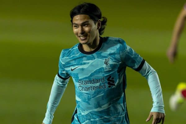 LINCOLN, ENGLAND - Thursday, September 24, 2020: Liverpool's Takumi Minamino during the Football League Cup 3rd Round match between Lincoln City FC and Liverpool FC at Sincil Bank. (Pic by David Rawcliffe/Propaganda)