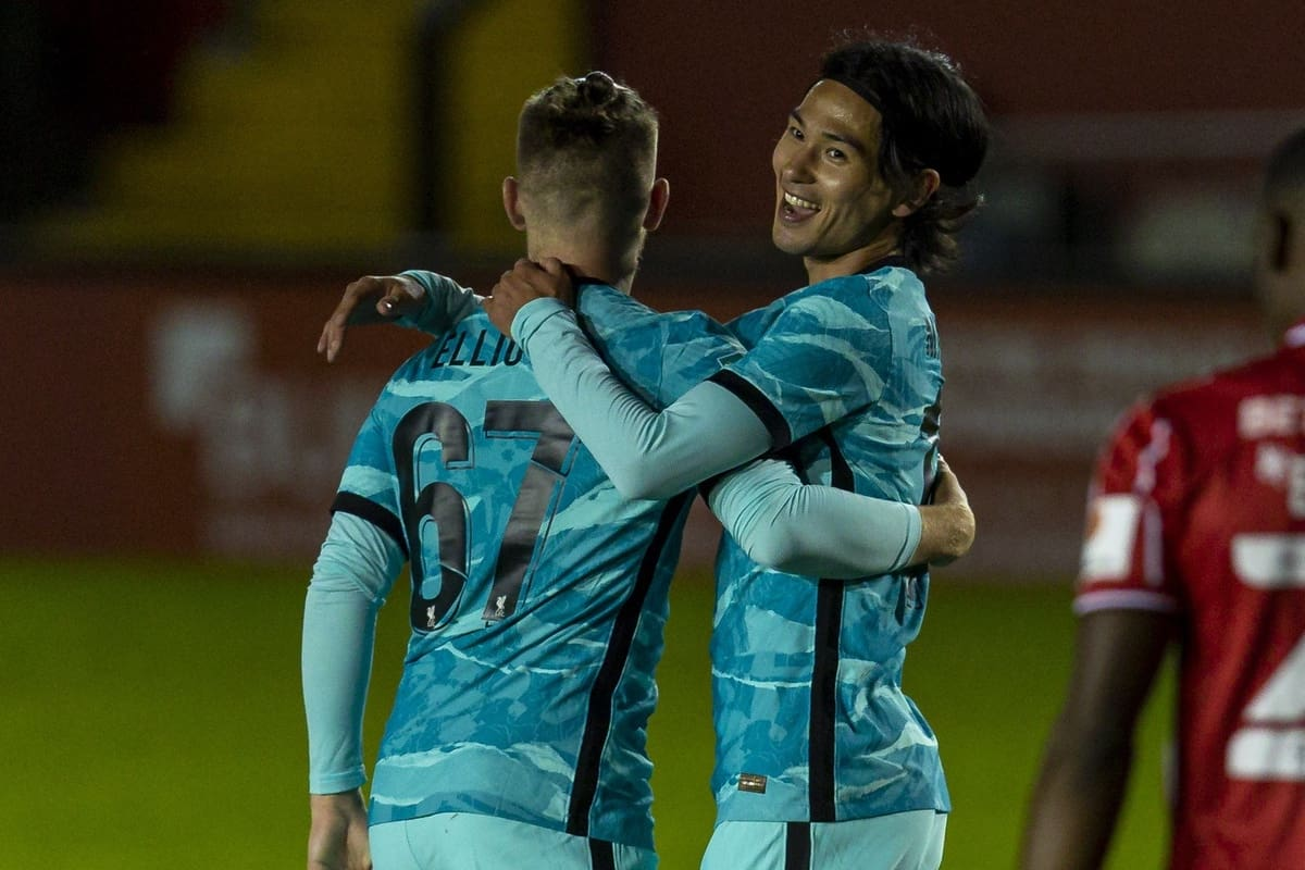 LINCOLN, ENGLAND - Thursday, September 24, 2020: Liverpool's Takumi Minamino celebrates scoring the second goal with team-mate Harvey Elliott (L) during the Football League Cup 3rd Round match between Lincoln City FC and Liverpool FC at Sincil Bank. (Pic by David Rawcliffe/Propaganda)