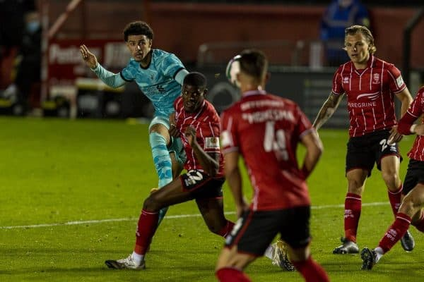 LINCOLN, ENGLAND - Thursday, September 24, 2020: Liverpool's Curtis Jones scores the third goal during the Football League Cup 3rd Round match between Lincoln City FC and Liverpool FC at Sincil Bank. (Pic by David Rawcliffe/Propaganda)