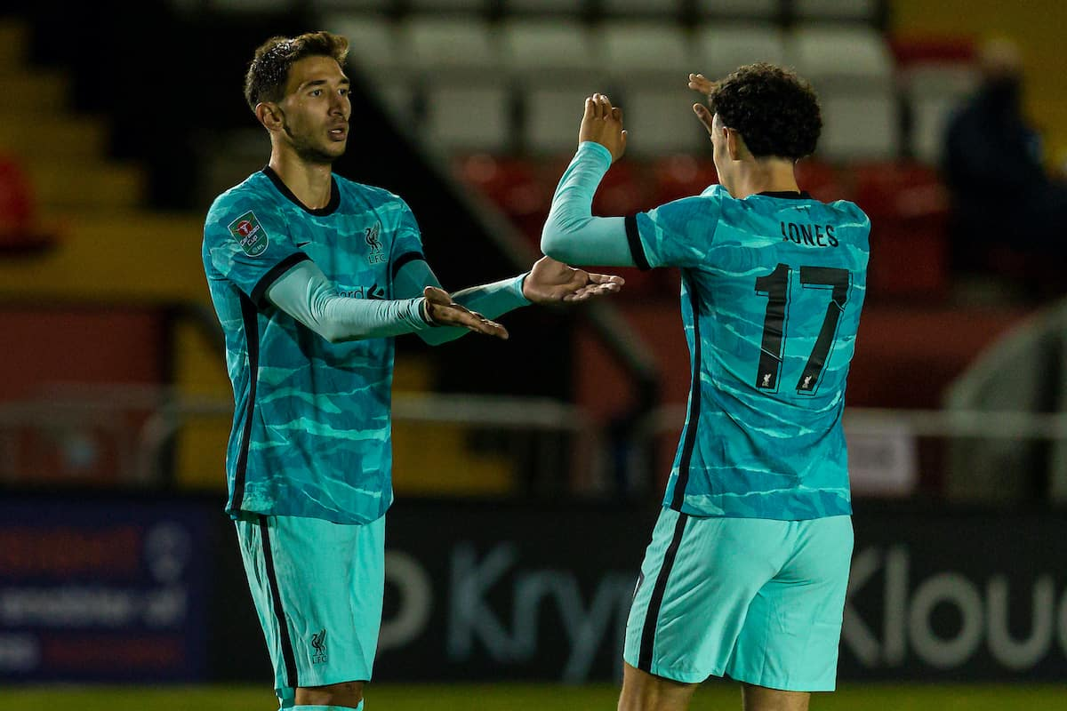 LINCOLN, ENGLAND - Thursday, September 24, 2020: Liverpool's Marko Grujic (L) celebrates scoring the sixth goal with team-mate Curtis Jones during the Football League Cup 3rd Round match between Lincoln City FC and Liverpool FC at Sincil Bank. (Pic by David Rawcliffe/Propaganda)