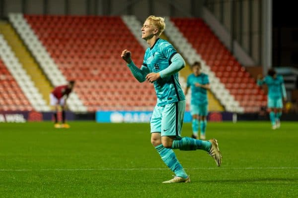 LEIGH, ENGLAND - Friday, September 25, 2020: Liverpool's Luis Longstaff celebrates scoring the fifth goal, to make the score 5-1, during the Premier League 2 Division 1 match between Manchester United FC Under-23's and Liverpool FC Under-23's at the Leigh Sports Village. (Pic by David Rawcliffe/Propaganda)