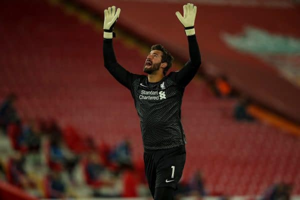 LIVERPOOL, ENGLAND - Monday, September 28, 2020: Liverpool's goalkeeper Alisson Becker celebrates as his side score the first equalising goal to level the score 1-1 during the FA Premier League match between Liverpool FC and Arsenal FC at Anfield. The game was played behind closed doors due to the UK government's social distancing laws during the Coronavirus COVID-19 Pandemic. (Pic by Propaganda)