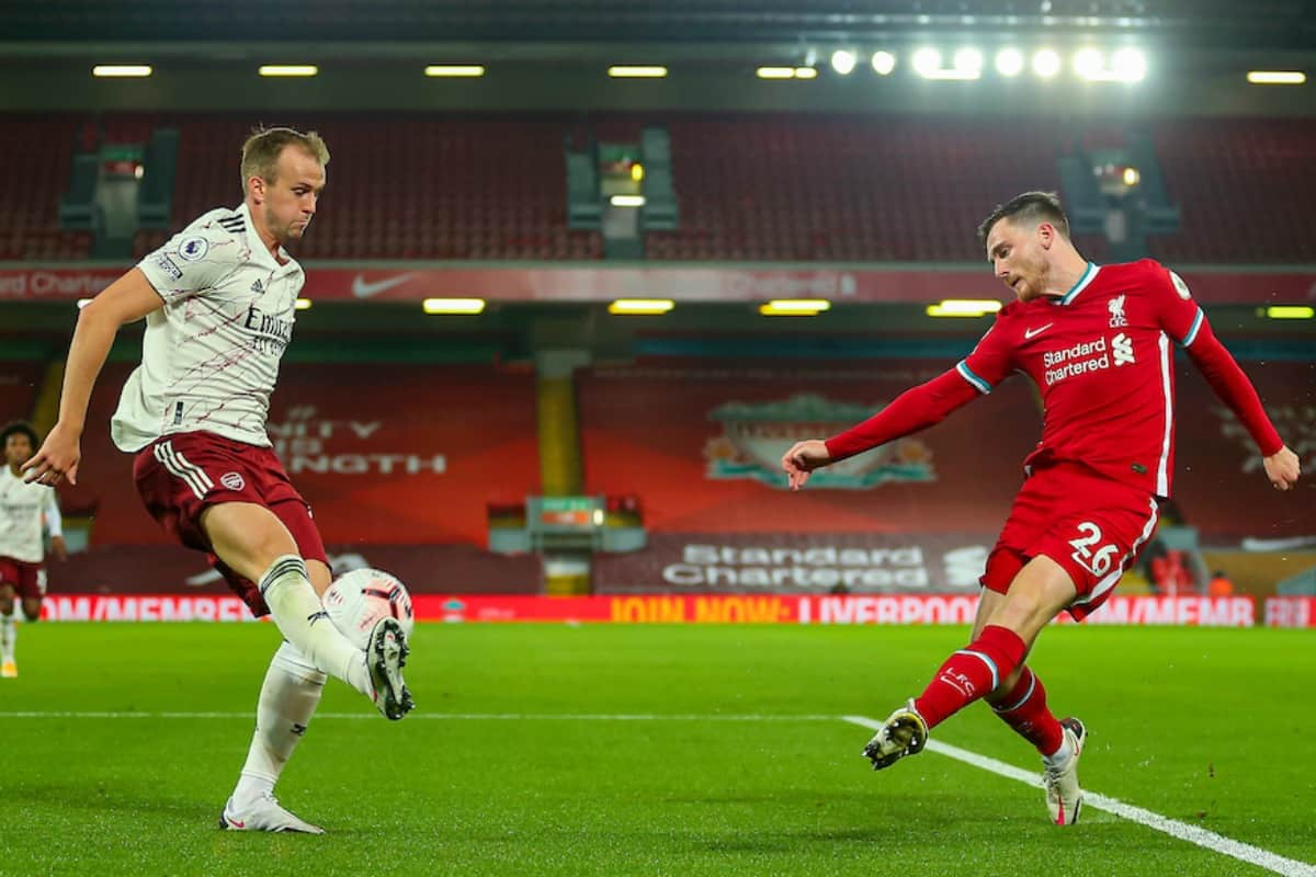 LIVERPOOL, ENGLAND - Monday, September 28, 2020: Liverpool's Andy Robertson crosses the ball during the FA Premier League match between Liverpool FC and Arsenal FC at Anfield. The game was played behind closed doors due to the UK government's social distancing laws during the Coronavirus COVID-19 Pandemic. (Pic by Propaganda)