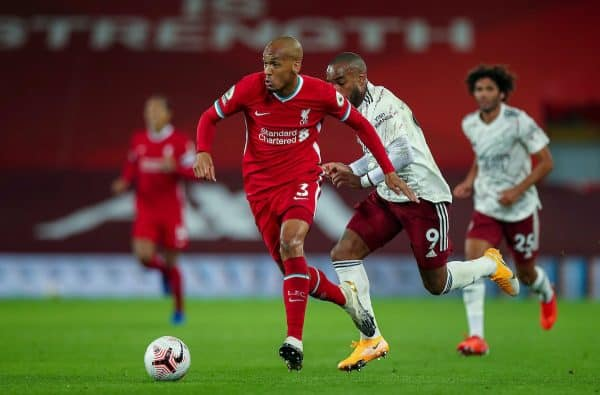 LIVERPOOL, ENGLAND - Monday, September 28, 2020: Liverpool's Fabio Henrique Tavares 'Fabinho' during the FA Premier League match between Liverpool FC and Arsenal FC at Anfield. The game was played behind closed doors due to the UK government's social distancing laws during the Coronavirus COVID-19 Pandemic. (Pic by Propaganda)