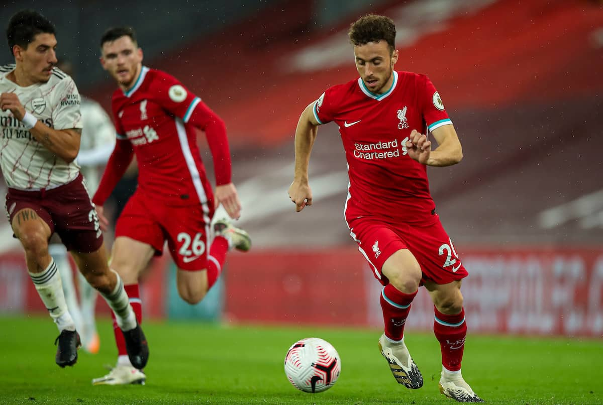 LIVERPOOL, ENGLAND - Monday, September 28, 2020: Liverpool's substitute Diogo Jota during the FA Premier League match between Liverpool FC and Arsenal FC at Anfield. The game was played behind closed doors due to the UK government's social distancing laws during the Coronavirus COVID-19 Pandemic. (Pic by Propaganda)
