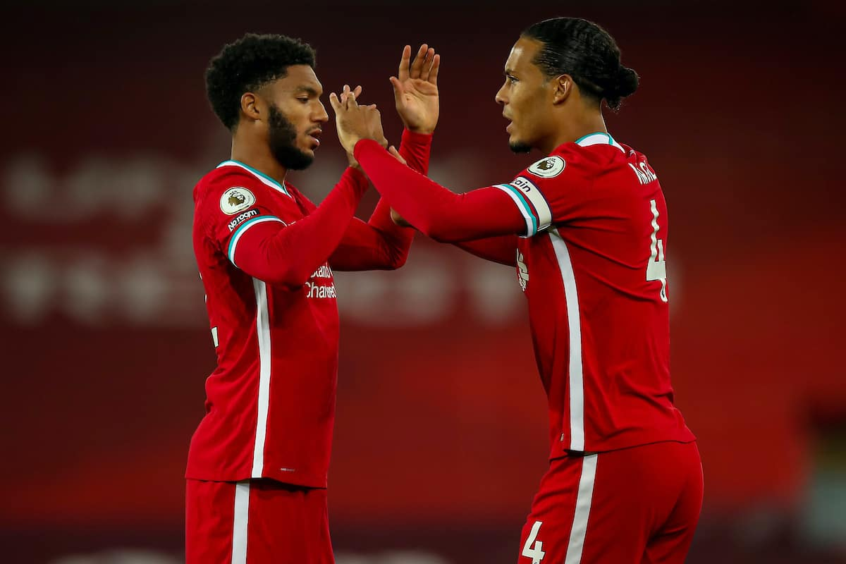 LIVERPOOL, ENGLAND - Monday, September 28, 2020: Liverpool's Joe Gomez (L) and Virgil van Dijk before the FA Premier League match between Liverpool FC and Arsenal FC at Anfield. The game was played behind closed doors due to the UK government's social distancing laws during the Coronavirus COVID-19 Pandemic. (Pic by Propaganda)
