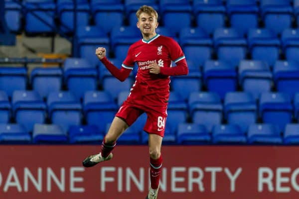 BIRKENHEAD, ENGLAND - Tuesday, September 29, 2020: Liverpool's Jake Cain celebrates scoring the first goal during the EFL Trophy Northern Group D match between Tranmere Rovers FC and Liverpool FC Under-21's at Prenton Park. (Pic by David Rawcliffe/Propaganda)