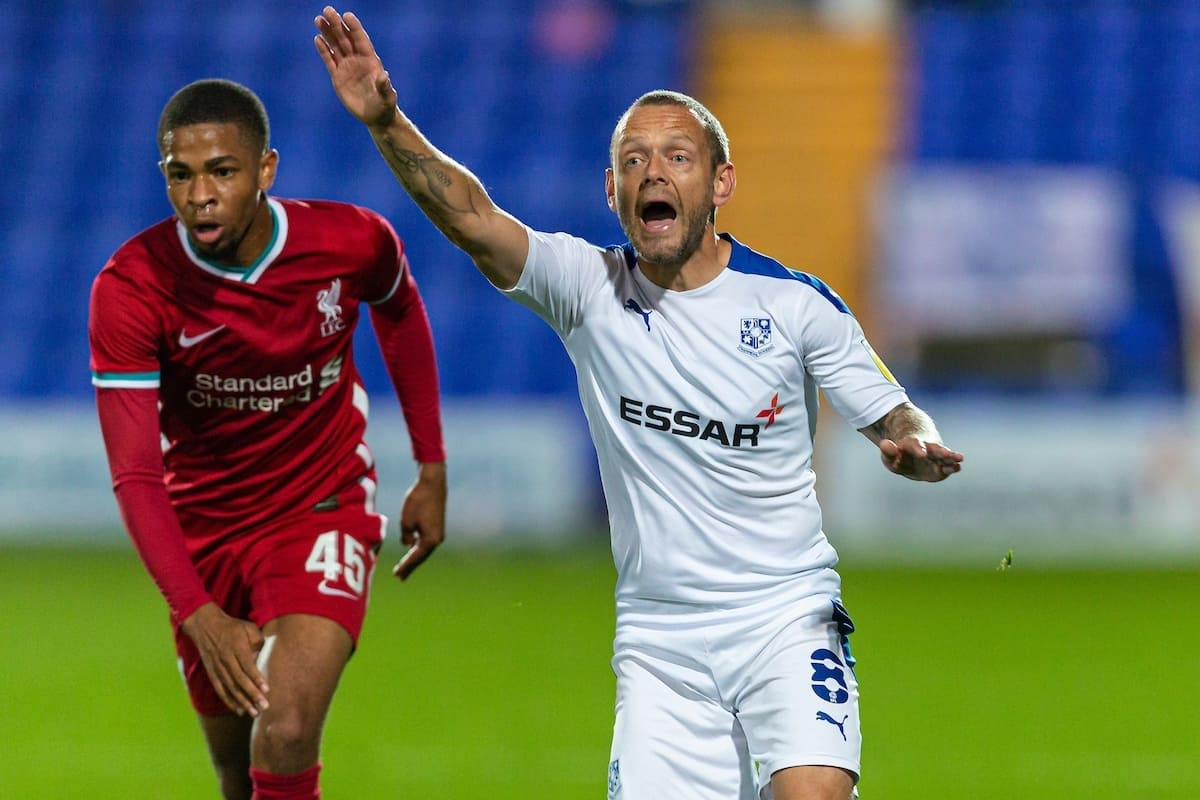 BIRKENHEAD, ENGLAND - Tuesday, September 29, 2020: Tranmere Rovers' Jay Spearing during the EFL Trophy Northern Group D match between Tranmere Rovers FC and Liverpool FC Under-21's at Prenton Park. (Pic by David Rawcliffe/Propaganda)
