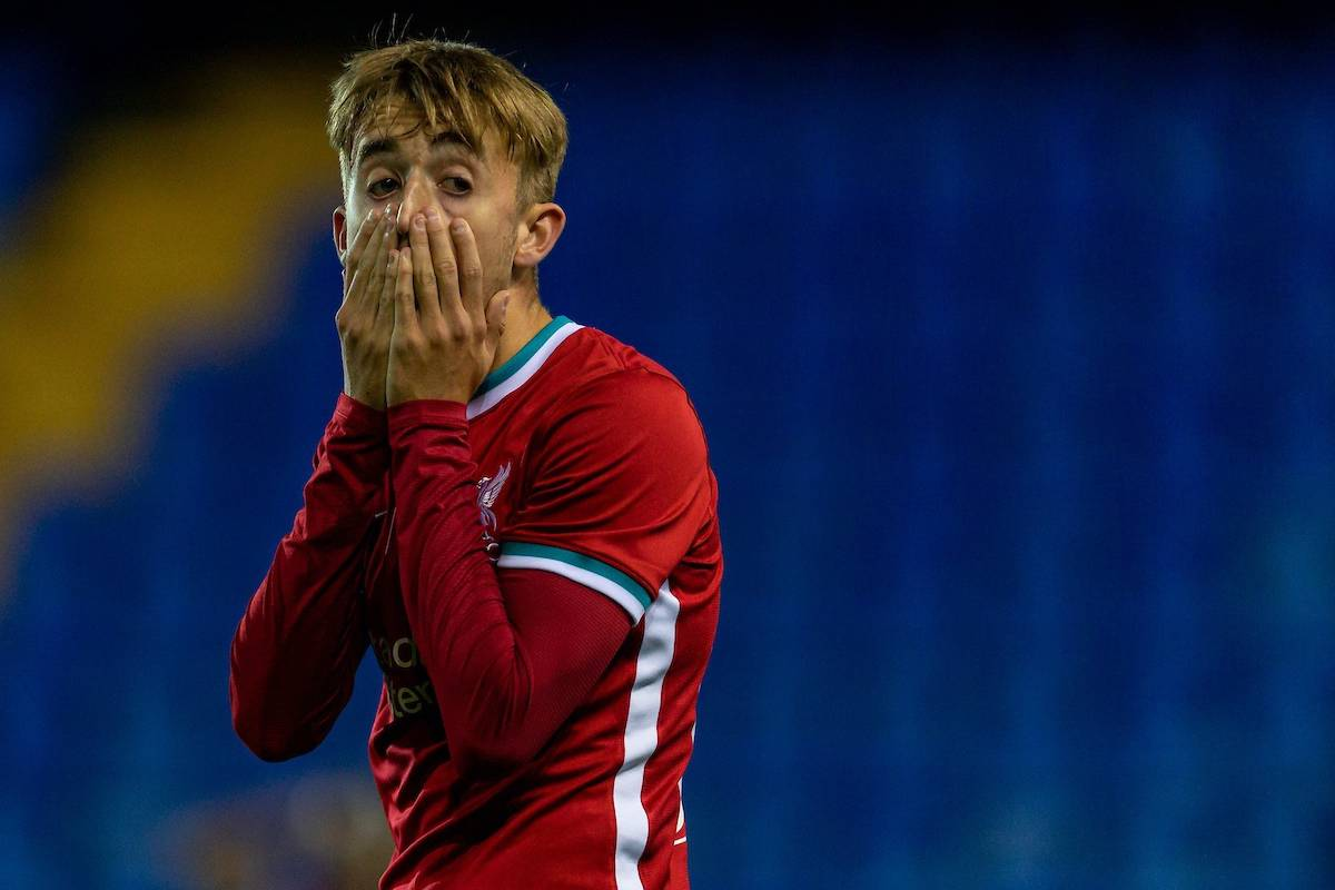 BIRKENHEAD, ENGLAND - Tuesday, September 29, 2020: Liverpool's Jake Cain looks dejected after missing a chance during the EFL Trophy Northern Group D match between Tranmere Rovers FC and Liverpool FC Under-21's at Prenton Park. (Pic by David Rawcliffe/Propaganda)