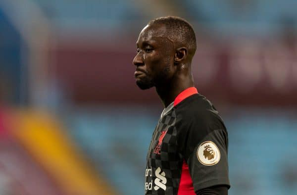 BIRMINGHAM, ENGLAND - Sunday, October 4, 2020: Liverpool's Naby Keita looks dejected during the FA Premier League match between Aston Villa FC and Liverpool FC at Villa Park. The game was played behind closed doors due to the UK government's social distancing laws during the Coronavirus COVID-19 Pandemic. (Pic by David Rawcliffe/Propaganda)