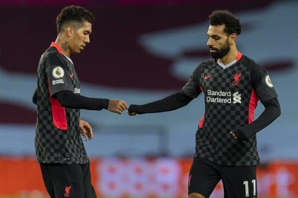 BIRMINGHAM, ENGLAND - Sunday, October 4, 2020: Liverpool's Mohamed Salah (R) celebrates with team-mate Roberto Firmino after scoring his side's second goal, to make the score 5-2 during the FA Premier League match between Aston Villa FC and Liverpool FC at Villa Park. The game was played behind closed doors due to the UK government's social distancing laws during the Coronavirus COVID-19 Pandemic. (Pic by David Rawcliffe/Propaganda)