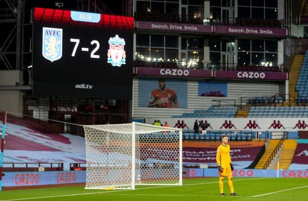 BIRMINGHAM, ENGLAND - Sunday, October 4, 2020: Liverpool's goalkeeper Adrián San Miguel del Castillo looks dejected as his side lose 7-2 during the FA Premier League match between Aston Villa FC and Liverpool FC at Villa Park. The game was played behind closed doors due to the UK government's social distancing laws during the Coronavirus COVID-19 Pandemic. (Pic by David Rawcliffe/Propaganda)