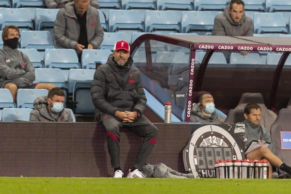 BIRMINGHAM, ENGLAND - Sunday, October 4, 2020: Liverpool's manager Jürgen Klopp during the FA Premier League match between Aston Villa FC and Liverpool FC at Villa Park. The game was played behind closed doors due to the UK government's social distancing laws during the Coronavirus COVID-19 Pandemic. (Pic by David Rawcliffe/Propaganda)