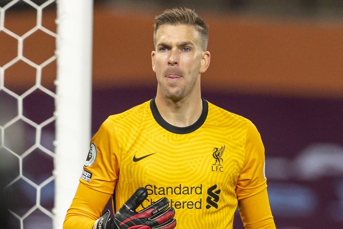 BIRMINGHAM, ENGLAND - Sunday, October 4, 2020: Liverpool's goalkeeper Adrián San Miguel del Castillo during the FA Premier League match between Aston Villa FC and Liverpool FC at Villa Park. The game was played behind closed doors due to the UK government's social distancing laws during the Coronavirus COVID-19 Pandemic. (Pic by David Rawcliffe/Propaganda)