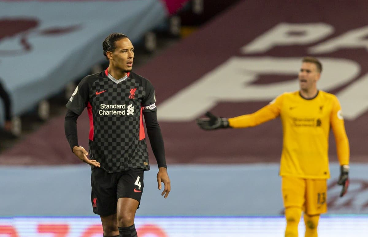 BIRMINGHAM, ENGLAND - Sunday, October 4, 2020: Liverpool's Virgil van Dijk looks dejected as Aston Villa score the opening goal during the FA Premier League match between Aston Villa FC and Liverpool FC at Villa Park. The game was played behind closed doors due to the UK government's social distancing laws during the Coronavirus COVID-19 Pandemic. (Pic by David Rawcliffe/Propaganda)