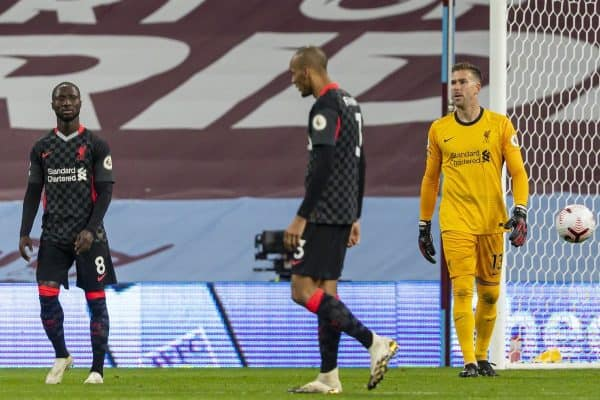 BIRMINGHAM, ENGLAND - Sunday, October 4, 2020: Liverpool's goalkeeper Adrián San Miguel del Castillo looks dejected as Aston Villa score the opening goal during the FA Premier League match between Aston Villa FC and Liverpool FC at Villa Park. The game was played behind closed doors due to the UK government's social distancing laws during the Coronavirus COVID-19 Pandemic. (Pic by David Rawcliffe/Propaganda)