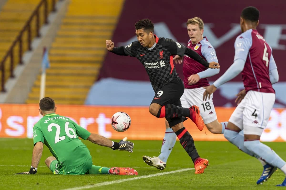 BIRMINGHAM, ENGLAND - Sunday, October 4, 2020: Liverpool's Roberto Firmino sees his shot saved during the FA Premier League match between Aston Villa FC and Liverpool FC at Villa Park. The game was played behind closed doors due to the UK government's social distancing laws during the Coronavirus COVID-19 Pandemic. (Pic by David Rawcliffe/Propaganda)