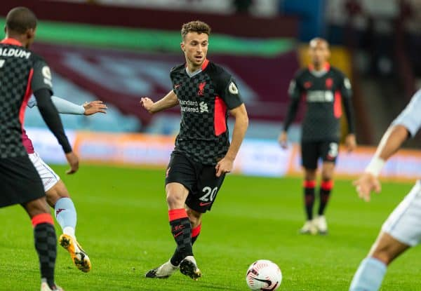 BIRMINGHAM, ENGLAND - Sunday, October 4, 2020: Liverpool's Diogo Jota during the FA Premier League match between Aston Villa FC and Liverpool FC at Villa Park. The game was played behind closed doors due to the UK government's social distancing laws during the Coronavirus COVID-19 Pandemic. (Pic by David Rawcliffe/Propaganda)