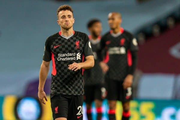 BIRMINGHAM, ENGLAND - Sunday, October 4, 2020: Liverpool's Diogo Jota looks dejected as Aston Villa score the second goal to make the score 2-0 during the FA Premier League match between Aston Villa FC and Liverpool FC at Villa Park. The game was played behind closed doors due to the UK government's social distancing laws during the Coronavirus COVID-19 Pandemic. (Pic by David Rawcliffe/Propaganda)