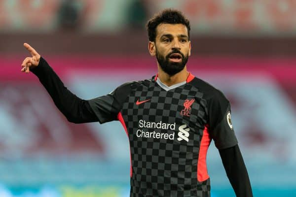 BIRMINGHAM, ENGLAND - Sunday, October 4, 2020: Liverpool's Mohamed Salah during the FA Premier League match between Aston Villa FC and Liverpool FC at Villa Park. The game was played behind closed doors due to the UK government's social distancing laws during the Coronavirus COVID-19 Pandemic. (Pic by David Rawcliffe/Propaganda)