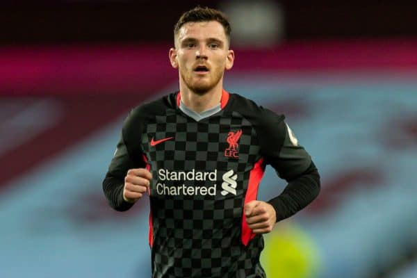 BIRMINGHAM, ENGLAND - Sunday, October 4, 2020: Liverpool's Andy Robertson during the FA Premier League match between Aston Villa FC and Liverpool FC at Villa Park. The game was played behind closed doors due to the UK government's social distancing laws during the Coronavirus COVID-19 Pandemic. (Pic by David Rawcliffe/Propaganda)