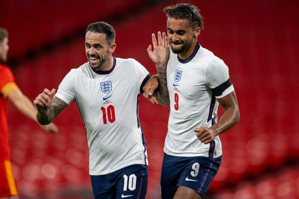 LONDON, ENGLAND - Thursday, October 8, 2020: England's Dominic Calvert-Lewin (R) celebrates after scoring the first goal with team-mate Danny Ings during the International Friendly match between England and Wales at Wembley Stadium. The game was played behind closed doors due to the UK Government's social distancing laws prohibiting supporters from attending events inside stadiums as a result of the Coronavirus Pandemic. (Pic by David Rawcliffe/Propaganda)