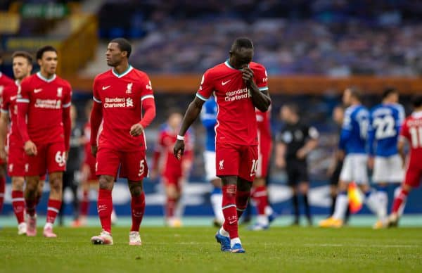 LIVERPOOL, ENGLAND - Saturday, October 17, 2020: Liverpool's Sadio Mané walks off dejected after an injury time winning goal was disallowed following a VAR review during the FA Premier League match between Everton FC and Liverpool FC, the 237th Merseyside Derby, at Goodison Park. The game was played behind closed doors due to the UK government's social distancing laws during the Coronavirus COVID-19 Pandemic. (Pic by David Rawcliffe/Propaganda)