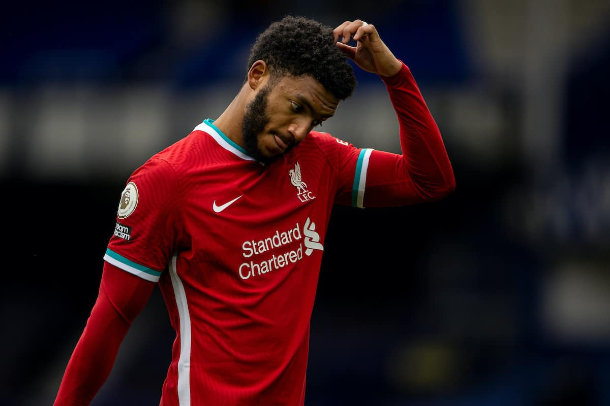 LIVERPOOL, ENGLAND - Saturday, October 17, 2020: Liverpool's Joe Gomez walks off dejected after an injury time winning goal was disallowed following a VAR review during the FA Premier League match between Everton FC and Liverpool FC, the 237th Merseyside Derby, at Goodison Park. The game was played behind closed doors due to the UK government's social distancing laws during the Coronavirus COVID-19 Pandemic. (Pic by David Rawcliffe/Propaganda)