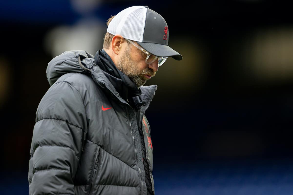 LIVERPOOL, ENGLAND - Saturday, October 17, 2020: Liverpool's manager Jürgen Klopp walks off dejected after an injury time winning goal was disallowed following a VAR review during the FA Premier League match between Everton FC and Liverpool FC, the 237th Merseyside Derby, at Goodison Park. The game was played behind closed doors due to the UK government's social distancing laws during the Coronavirus COVID-19 Pandemic. (Pic by David Rawcliffe/Propaganda)