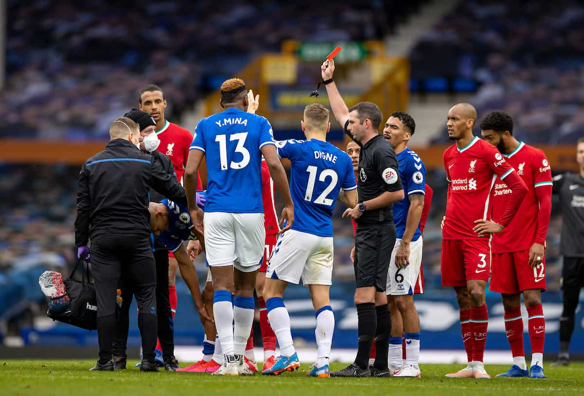 LIVERPOOL, ENGLAND - Saturday, October 17, 2020: Everton's Richarlison de Andrade (L) is shown a red card and sent off by referee Michael Oliver during the FA Premier League match between Everton FC and Liverpool FC, the 237th Merseyside Derby, at Goodison Park. The game was played behind closed doors due to the UK government's social distancing laws during the Coronavirus COVID-19 Pandemic. (Pic by David Rawcliffe/Propaganda)