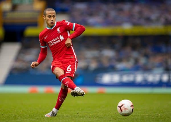 LIVERPOOL, ENGLAND - Saturday, October 17, 2020: Liverpool's Thiago Alcantara during the FA Premier League match between Everton FC and Liverpool FC, the 237th Merseyside Derby, at Goodison Park. The game was played behind closed doors due to the UK government's social distancing laws during the Coronavirus COVID-19 Pandemic. (Pic by David Rawcliffe/Propaganda)