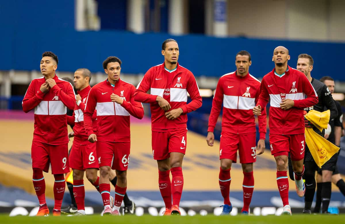 LIVERPOOL, ENGLAND - Saturday, October 17, 2020: Liverpool's Virgil van Dijk and team-mates before the FA Premier League match between Everton FC and Liverpool FC, the 237th Merseyside Derby, at Goodison Park. The game was played behind closed doors due to the UK government's social distancing laws during the Coronavirus COVID-19 Pandemic. (Pic by David Rawcliffe/Propaganda)