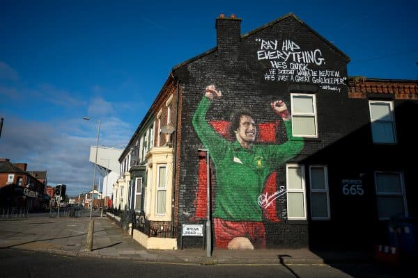LIVERPOOL, ENGLAND - Saturday, October 17, 2020: A mural of former Liverpool and England goalkeeper Ray Clemence on the gabel end of a terrace house in Anfield pictured before the FA Premier League match between Everton FC and Liverpool FC, the 237th Merseyside Derby. (Pic by David Rawcliffe/Propaganda)