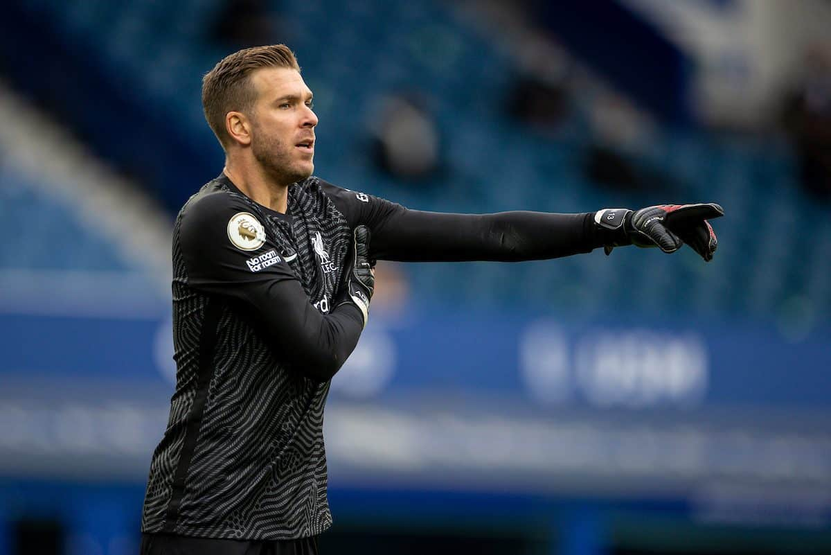 LIVERPOOL, ENGLAND - Saturday, October 17, 2020: Liverpool's goalkeeper Adrián San Miguel del Castillo during the FA Premier League match between Everton FC and Liverpool FC, the 237th Merseyside Derby, at Goodison Park. The game was played behind closed doors due to the UK government's social distancing laws during the Coronavirus COVID-19 Pandemic. (Pic by David Rawcliffe/Propaganda)
