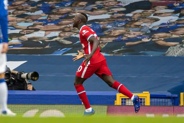 LIVERPOOL, ENGLAND - Saturday, October 17, 2020: Liverpool's Sadio Mané celebrates after scoring the first goal during the FA Premier League match between Everton FC and Liverpool FC, the 237th Merseyside Derby, at Goodison Park. The game was played behind closed doors due to the UK government's social distancing laws during the Coronavirus COVID-19 Pandemic. (Pic by David Rawcliffe/Propaganda)