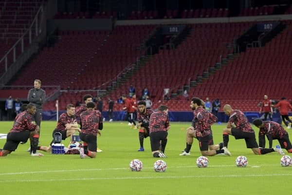 AMSTERDAM, THE NETHERLANDS - Wednesday, October 21, 2020: Liverpool players during the pre-match warm-up before the opening UEFA Champions League Group D match between AFC Ajax and Liverpool FC at the Johan Cruijff ArenA. (Pic by Orange Pictures via Propaganda)