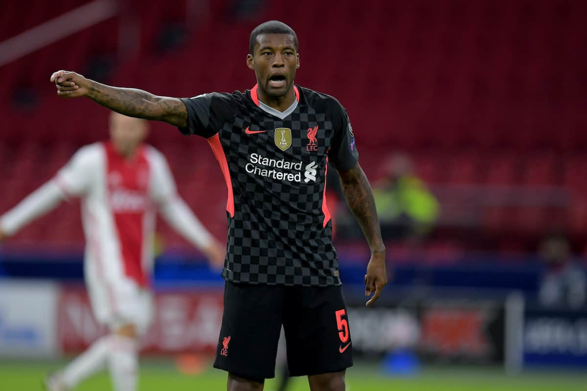AMSTERDAM, THE NETHERLANDS - Wednesday, October 21, 2020: Liverpool's Georginio Wijnaldum during the opening UEFA Champions League Group D match between AFC Ajax and Liverpool FC at the Johan Cruijff ArenA. (Pic by Gerrit van Keulen/Orange Pictures via Propaganda)