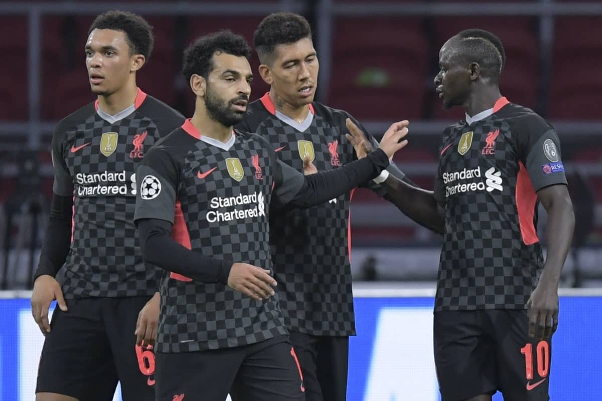 AMSTERDAM, THE NETHERLANDS - Wednesday, October 21, 2020: Liverpool's Sadio Mané (#10) celebrates after forcing an own goal from Ajax during the opening UEFA Champions League Group D match between AFC Ajax and Liverpool FC at the Johan Cruijff ArenA. (Pic by Gerrit van Keulen/Orange Pictures via Propaganda)