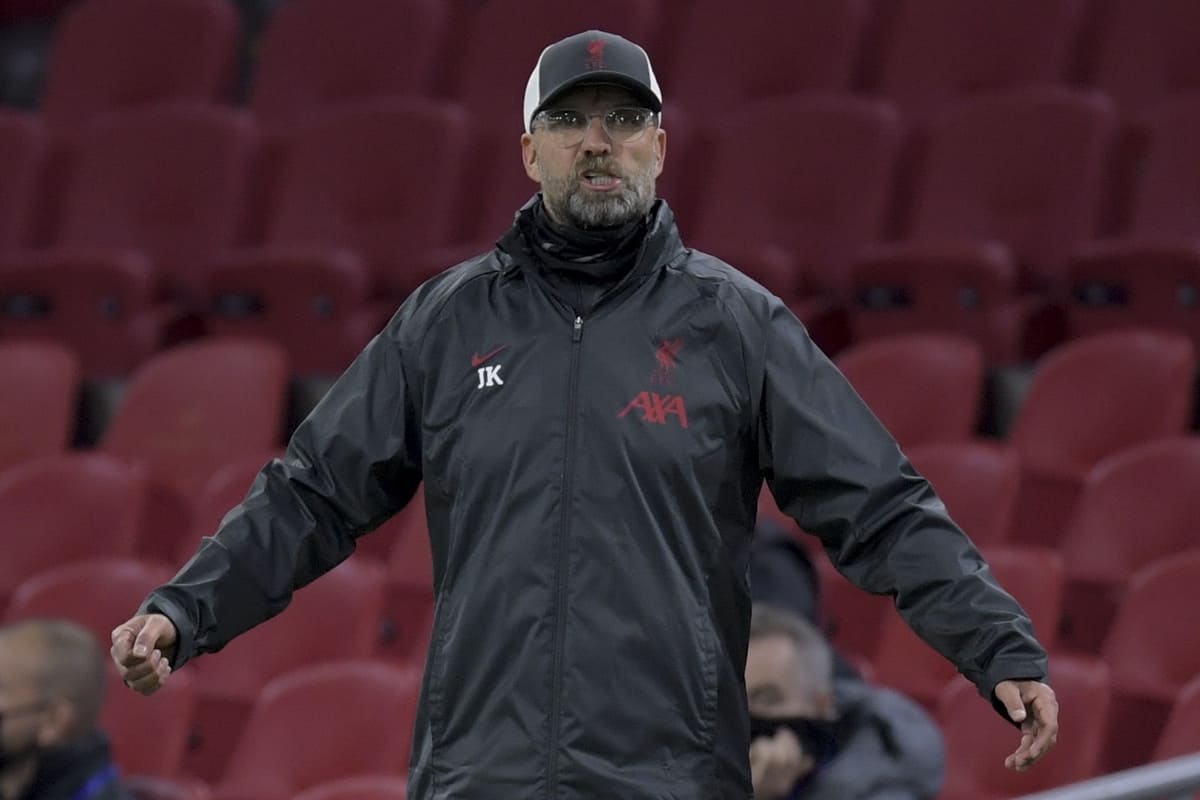 AMSTERDAM, THE NETHERLANDS - Wednesday, October 21, 2020: Liverpool's manager Jürgen Klopp reacts during the opening UEFA Champions League Group D match between AFC Ajax and Liverpool FC at the Johan Cruijff ArenA. (Pic by Gerrit van Keulen/Orange Pictures via Propaganda)