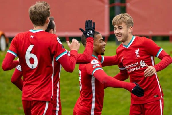 KIRKBY, ENGLAND - Saturday, October 24, 2020: Liverpool's Jake Cain (R) celebrates after scoring the second goal during the Premier League 2 Division 1 match between Liverpool FC Under-23's and Chelsea FC Under-23's at the Liverpool Academy. (Pic by David Rawcliffe/Propaganda)