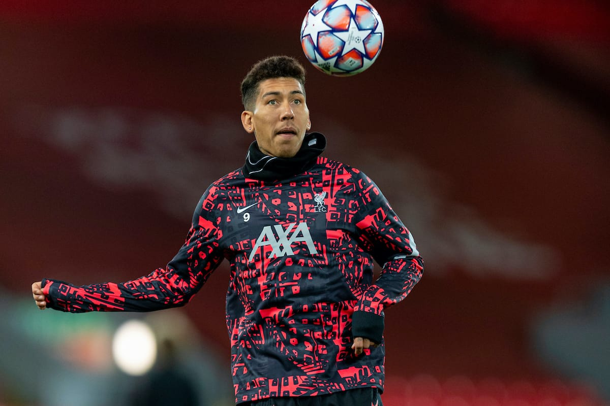 LIVERPOOL, ENGLAND - Tuesday, October 27, 2020: Liverpool's Roberto Firmino during the pre-match warm-up before the UEFA Champions League Group D match between Liverpool FC and FC Midtjylland at Anfield. (Pic by David Rawcliffe/Propaganda)
