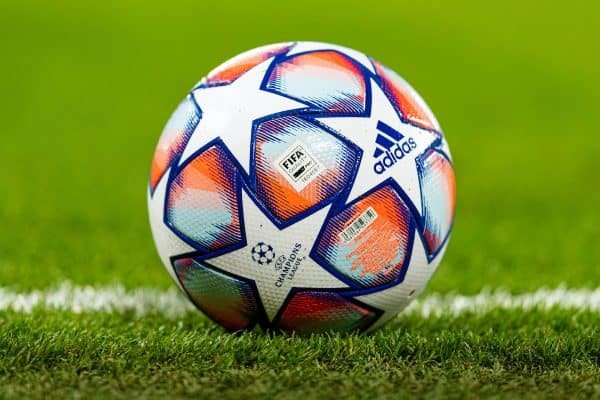 LIVERPOOL, ENGLAND - Tuesday, October 27, 2020: The official Adidas match ball during the UEFA Champions League Group D match between Liverpool FC and FC Midtjylland at Anfield. (Pic by David Rawcliffe/Propaganda)